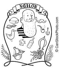 marin, dessin animé, main, dessiné, hipster