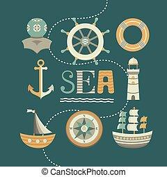 marin, ensemble, de, icônes