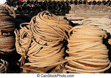 marin, fil, pêcheur, empilé, professionnel