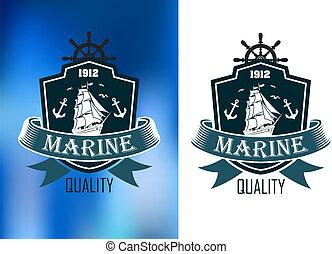 marin, héraldique, bannière, retro