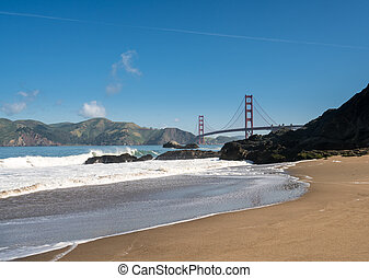 Marin Headlands and Golden Gate Bridge from Baker Beach