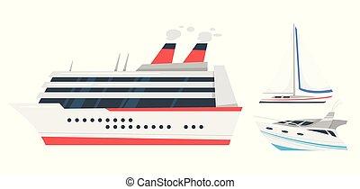 marin, illustration, transport