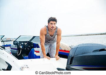 marin, sien, bateau, moteur, homme