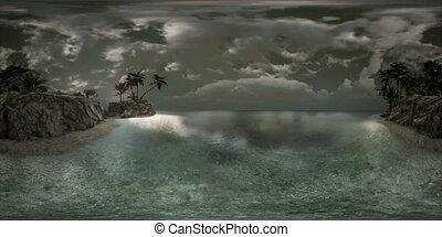 marin, surprenant, exotique, vr, plage, doux, 360, crépuscule