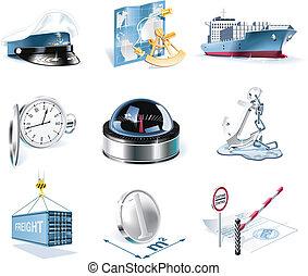 marin, vecteur, transport, icône