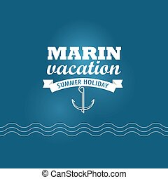Marin wacation. Summer holiday insignia. Design template