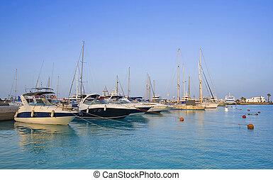 marina, amarré, moteur, yachts