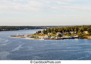 Marina and Homes on Shore of Sydney Nova Scotia