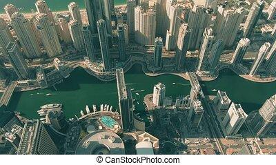 marina, arabe, gratte-ciel, uni, bas, vue, uae, dubai, aérien, emirats