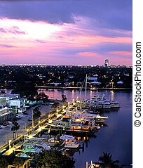 Marina at night, Fort Lauderdale. - View over the harbour at...
