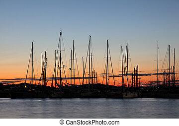 Marina at the Sunset, Croatian town Murter