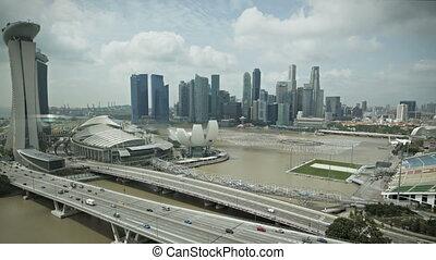 marina, baie, aérien, singapour, vue