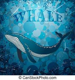 marina, ballena, grunge, plano de fondo