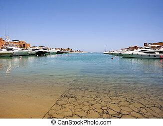 marina, bateaux, amarré, moteur, privé