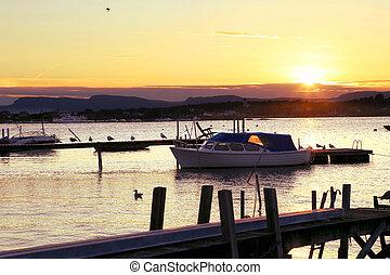 marina, bateaux, moteur, sunset.
