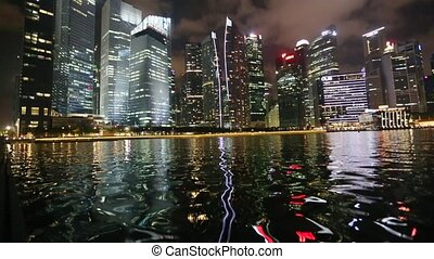 Marina Bay at night, Singapore.