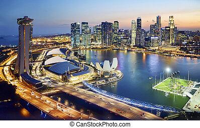 marina bay, singapore - marina bay and surrounding skyline...
