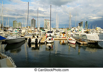 Marina Boats Against Towers
