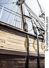 marina, boisé, vieux, bateau