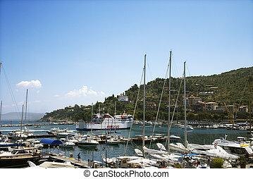 Marina by coastal villa.