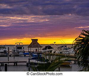 marina, cancun, coucher soleil, lagune, mexique