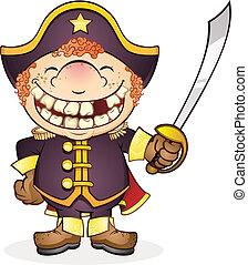 marina, capitán, carácter, caricatura, barco