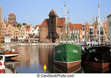 marina, cidade,  Gdansk