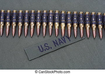 marina, cinturón, munición, nosotros, uniforme