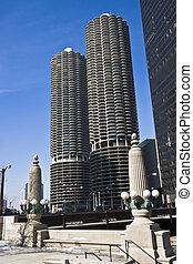 Marina City in Chicago, IL.