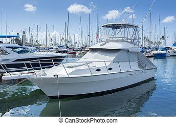 marina, con, lusso, yacht, e, bianco, barche