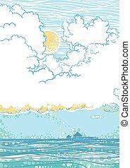 marina, con, nubi