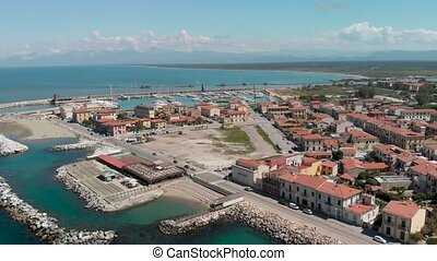 Marina di Pisa from the sky, Italy. Beautiful view of coastline and cityscape.