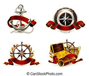 marina, emblema, conjunto