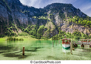 Marina for boats on the lake Konigssee, Alps, Germany