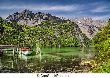 Marina for boats on the lake Konigssee in the Alps