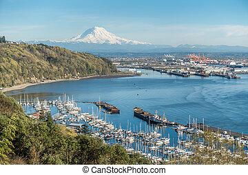 marina, góra, port, 4