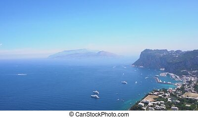 Capri island, Italy - Marina Grande habour from above, Capri...