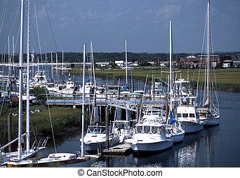 Harbor full of yachts and sail boats