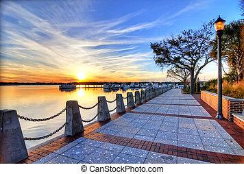 hdr image of marina at sunset
