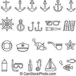 marina, icono, conjunto