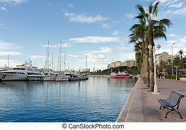 Marina and motorboats in Alicante, Spain