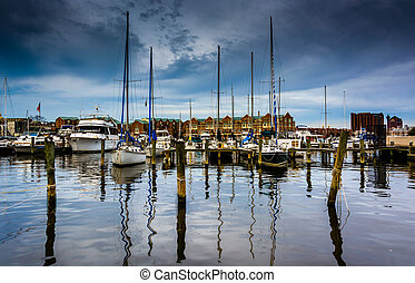 Marina in Canton, Baltimore, Maryland.