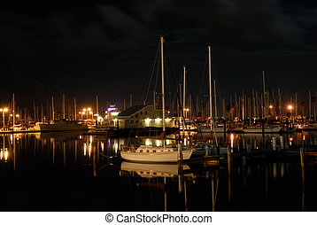 Marina in Corpus Christi at night, southern Texas USA