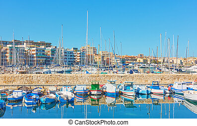 Marina in Syracuse - Yachts and boars in the port of...