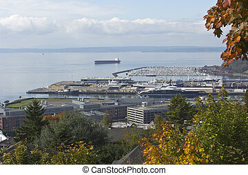 marina., industriel, port, point vue