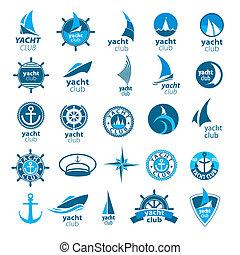 marina, logos, vektor, sammlung, größten