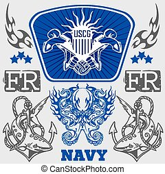marina, militar, diseño, -, vector, illustration.