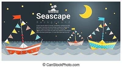 marina, nave, carta, fondo, colorito