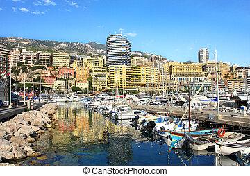 Marina of Monte Carlo, Monaco. - View on marina with yachts ...