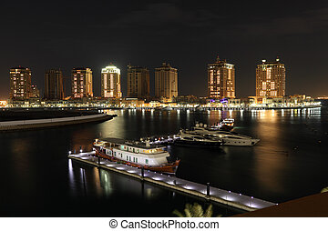 Marina of Porto Arabia at night. Doha, Qatar, Middle East